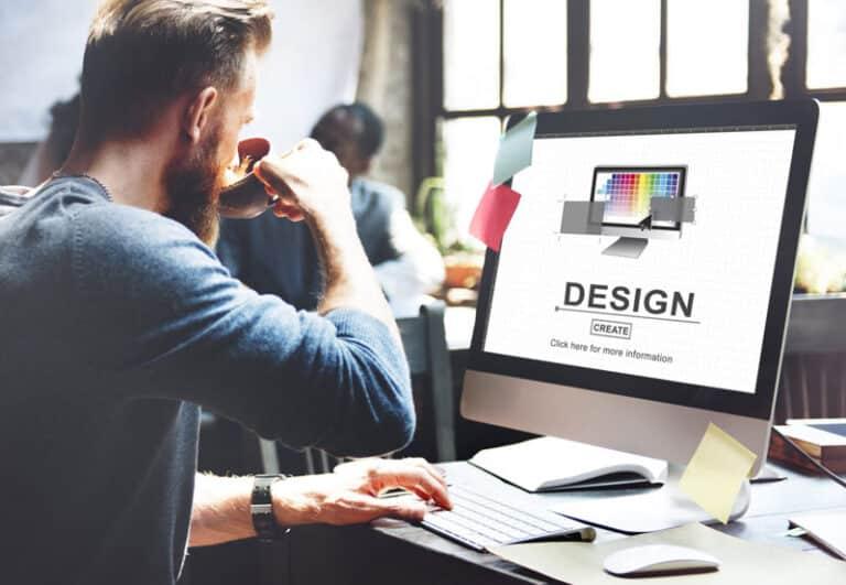 Mitarbeiter arbeit am Rechner mit Design